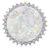 25MM Cristal artificiel en métal blanc opalin plaqué argent avec strass KC7968