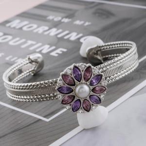 Astilla de diseño 20MM plateada con diamantes de imitación morados y perlas KC5702 broches de joyería