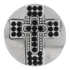 20MM cross snap button Silver Plated with black Rhinestone KC9855 snap jewelry