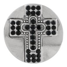 Кнопка с крестообразной кнопкой 20MM Посеребренная с черным горным хрусталем KC9855