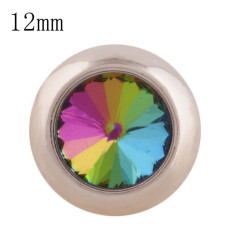 12MM round snap Rose Gold with colorful Rhinestone KS9689-S snaps jewelry