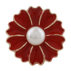 Broche de oro 20MM chapado en oro con perlas y esmalte rojo Joyas KC9868