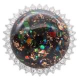25MM Ручная работа Толстая глянцевая круглая янтарная защелка Серебро с покрытием со стразами KC7948 Черный