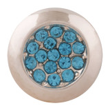 20MM circle sag snap rose-gold Plated with blue rhinestone KC7630 snap jewelry