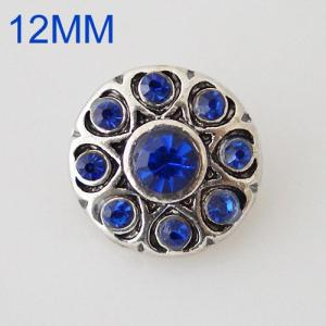 12mm round snaps Antique Silver Plated with blue rhinestone KB6505-S snap jewelry