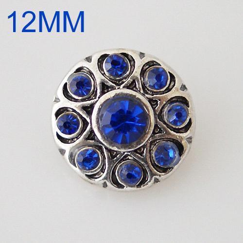 Круглые защелки 12mm Старинное серебро с голубым стразами KB6505-S ювелирные изделия с защелками