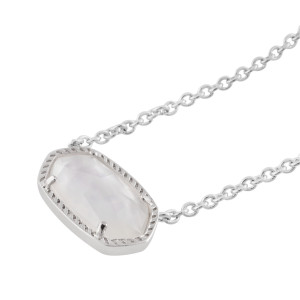 Kendra Scott style Elisa Ожерелье с подвеской Белая оболочка с серебряной цепочкой 0.8 * 1.5cm Кулон Elisa размер