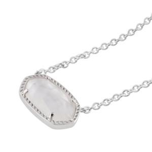 Kendra Scott style Elisa Colgante Collar Concha blanca con cadena plateada 0.8 * 1.5cm colgante Elisa tamaño