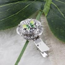 12mm Mariposa Broches de tamaño pequeño con esmalte verde para joyas en trozos