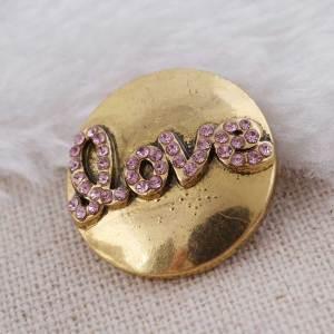 20MM Saint-Valentin amour snap plaqué or avec strass rose KC8607 s'enclenche bijoux