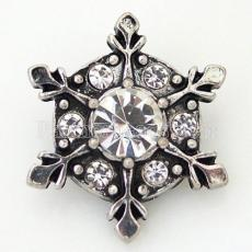20MM Christmas Snow snap Antique Silver Plated with white rhinestone KB6471 snaps jewelry