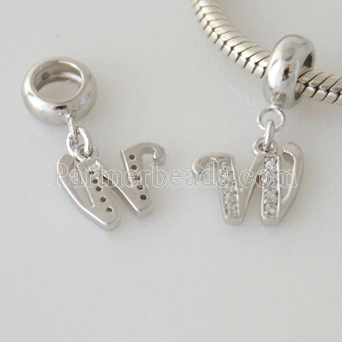 partenaire perles en argent sterling avec charm lettre - W