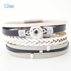 Las pulseras de cuero PU 7.59inch se ajustan a los trozos de broches 12MM