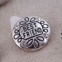 20MM best friend snap Plateado con diamantes de imitación blancos KC8597 broches de joyería