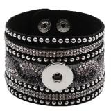 Partnerbeads 21CM schwarz Lederarmbänder passen zu 18 / 20MM Snaps Chunks KC0292 Snaps Schmuck