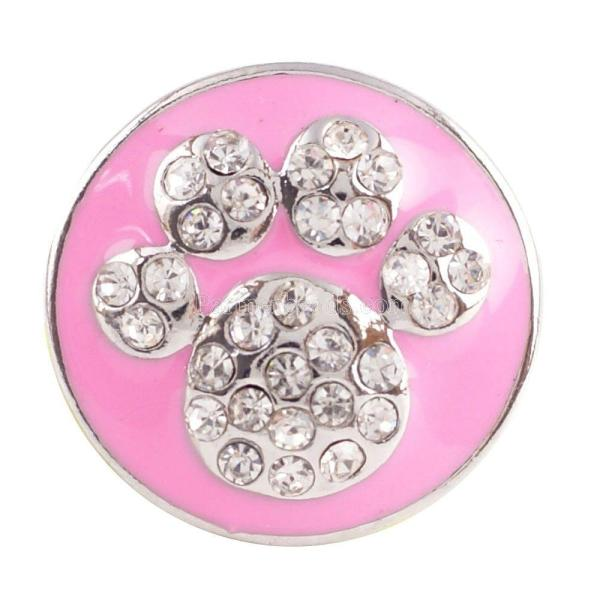 Partnerbeads 20MM Paws snap button Antique Silver Plated with pink rhinestone snap jewelry