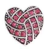20MM Coeur bouton-pression de volley-ball Plaqué Argent Antique avec des bijoux de pression strass rose-rouge