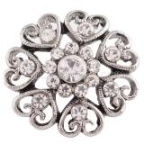 20MM Loveheart snap Silver Plated with white rhinestones KC7201 snaps jewelry