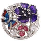 Broche de flores 20MM Plateado con esmalte de colores y diamantes de imitación KC8817 Multicolor