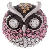 23MM Owl snap Chapado en plata antigua con diamantes de imitación KB7957 broches de joyería