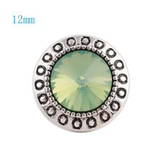 12MM Round snap Silver Plated with green rhinestone KS6048-S snaps jewelry