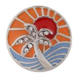 20MM Holiday Seaside Snap versilbert mit Strass und orangefarbenem Email KC7408 austauschbaren Snaps Schmuck