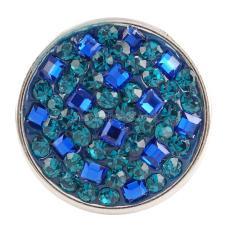 кнопка с голубыми стразами и смолой KC2772 бижутерия