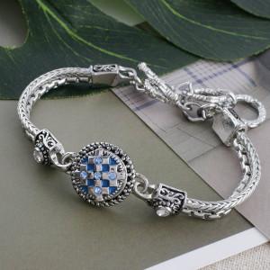 12MM cross snap with blue Rhinestone and blue Enamel KS5206-S interchangeable snaps jewelry