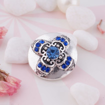 20MM Cross snap silver Plated with deep blue Rhinestones KC7356 snaps jewelry