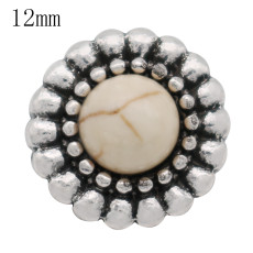 12mm round Small size snaps with  yellow Natural stone for chunks jewelry KS6364-S