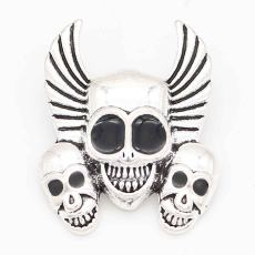 20MM skull snap sliver Plated KC6698 snaps jewelry