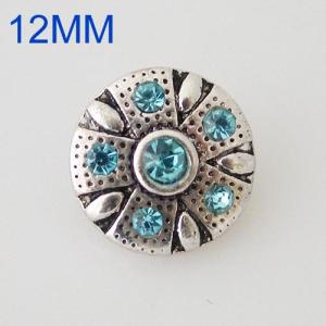 Broches de flores 12mm plateados con diamantes de imitación azules KB6534-S joyería rápida