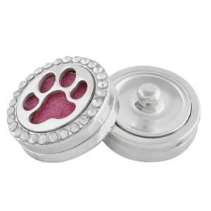 22mm weiße Legierung Hund Krallen Aromatherapie / Ätherisches Öl Diffusor Parfüm Medaillon Snap mit 1pc 15mm Scheiben als Geschenk