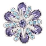 Bouton design 20MM plaqué argent avec strass violet KC5505 s'encliquette bijoux