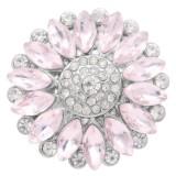 20MM Girasol complemento Plateado con diamantes de imitación rosa KC7929 broches de joyería
