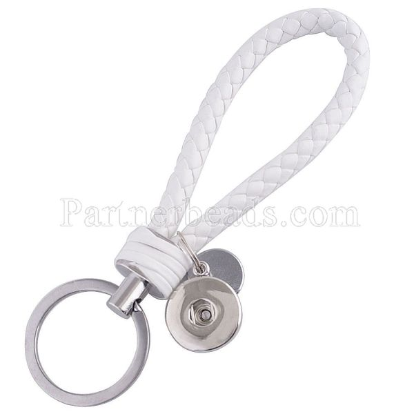 Llavero de cuero de la PU Llavero con botón en forma de broches de presión KC1119 Broches de joyería