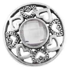 20MM design snap Antique silver plated with white Rhinestone KC7490 interchangeable snaps jewelry
