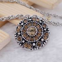 20MM round snap  Antique Silver Plated with light orange rhinestone KC7076 snaps jewelry