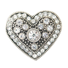 20MM Loveheart snaps KB8741 with white rhinestone interchangeable jewelry