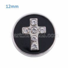 12MM cross snap Antique Silver Plated with rhinestone KS8016-S snaps jewelry