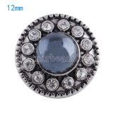 12mm Perlenverschlüsse Versilbert mit grauen Perlen KS5030-S Schmuckverschlüsse