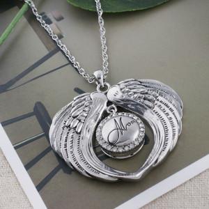 20MM mamá chapado en plata con diamantes de imitación blancos KC5575 broches de joyería