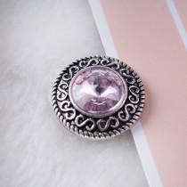 20MM Круглая защелка Античное серебро с покрытием из розового горного хрусталя KB6900 защелкивается ювелирные изделия