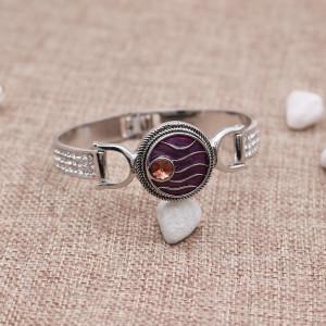 20mm ondulado diamante plateado esmalte púrpura KC9907 joyería rápida