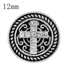 12MM cross snap sliver plated with white Rhinestone and Enamel KS6246-S interchangeable snaps jewelry