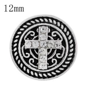 Крестовина 12MM с защелкой, покрытая белым горным хрусталем и эмалью KS6246-S Сменные украшения с защелками