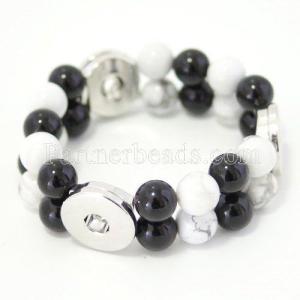 белый хаулит и черные обсидиановые браслеты Fit 18 / 20mm защелкиваются