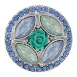 20MM цветок оснастки посеребренная с голубым стразами KC7645 оснастки ювелирные изделия