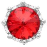 Broche de corona 20MM plateado con diamantes de imitación rojos KC6812 broches de joyería