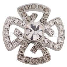 20MM design snap silver plated with white Rhinestone  KC5465 snaps jewelry